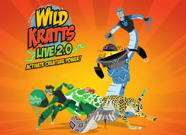 Wild Kratts Live 2.0 Active Creature Power; Cartoon animals and people sunburst backgroun